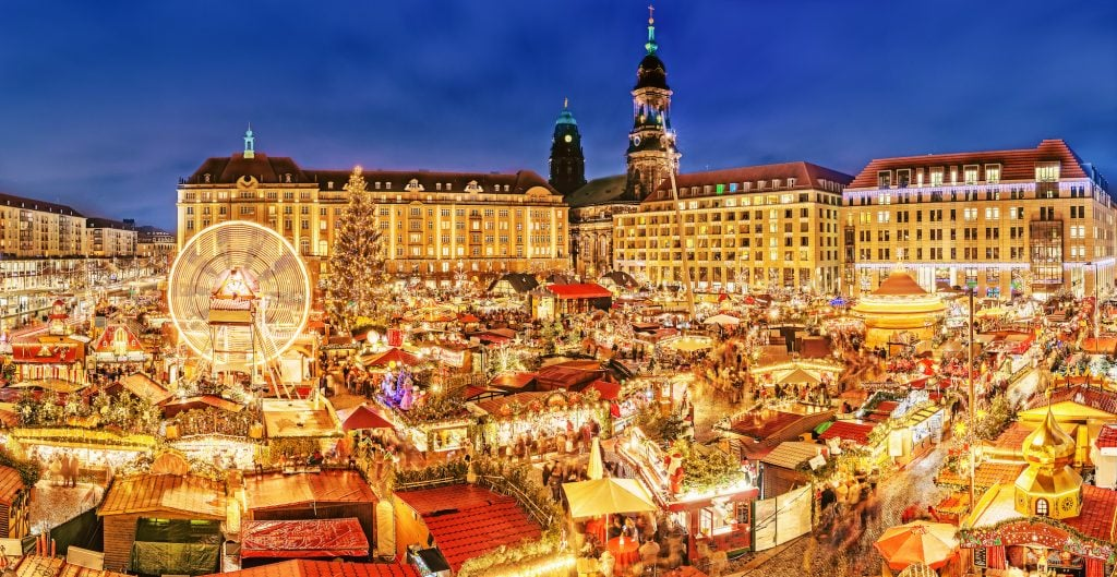 Dresden Christmas market, view from above in Germany, Europe
