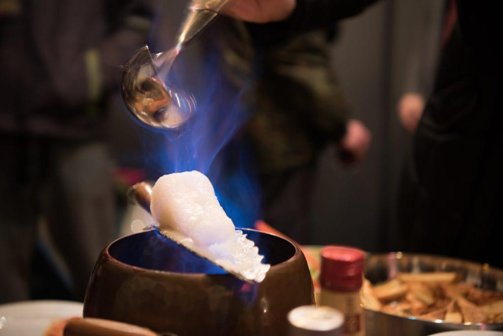 Feuerzangenbowle set on fire