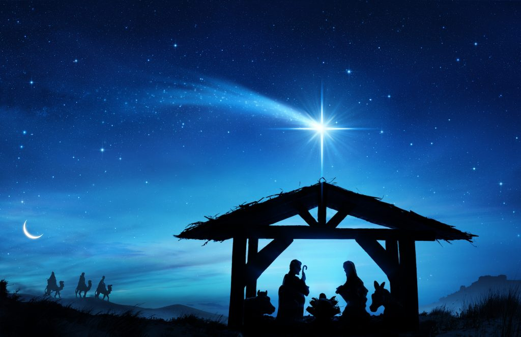 Illustration of the birth of Baby Jesus, blue and black colors and a bright white star