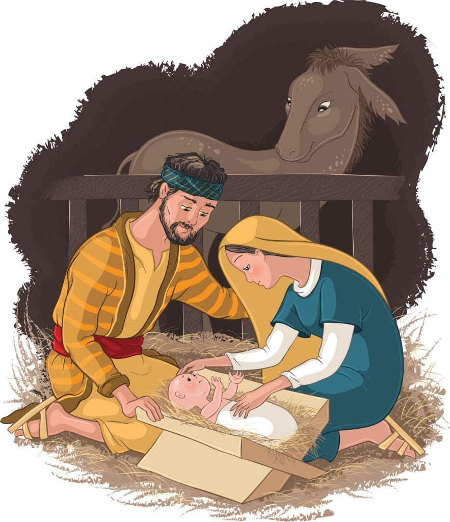 Illustration of Jesus in the manger with Mary and Joseph sitting beside him.