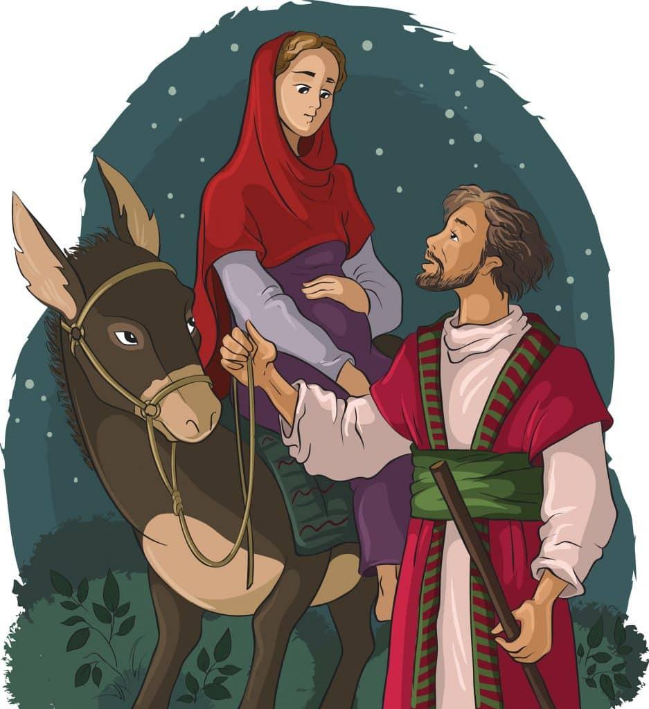 Illustration of Mary on the donkey travlling with Joseph.