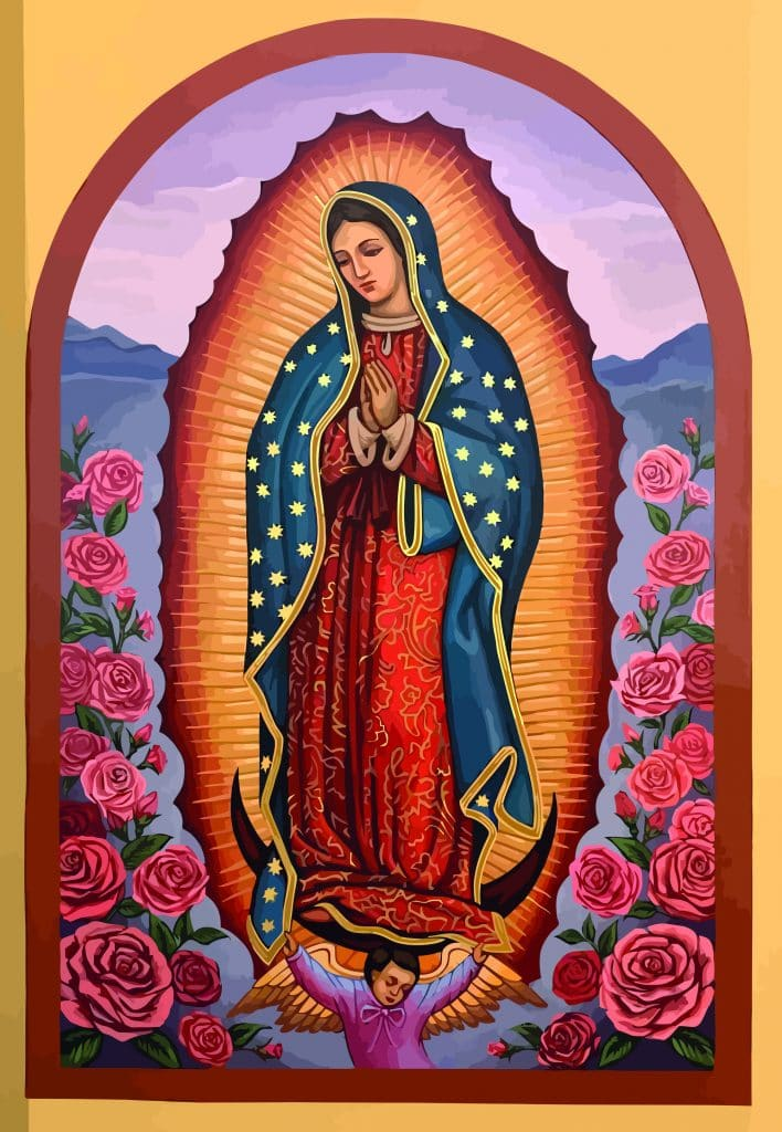 Illustration of Lady of Guadalupe with roses.