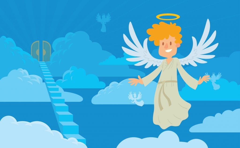 Illustration of an angle near heavens gates.