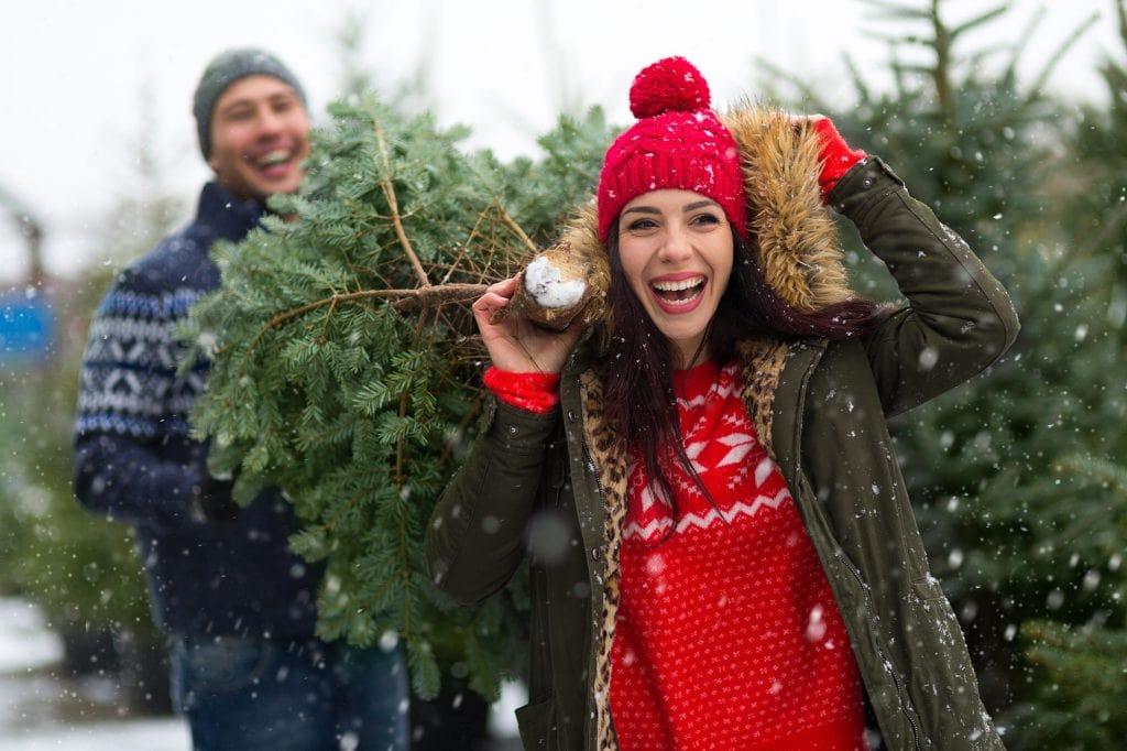 Couple picking a Christmas tree