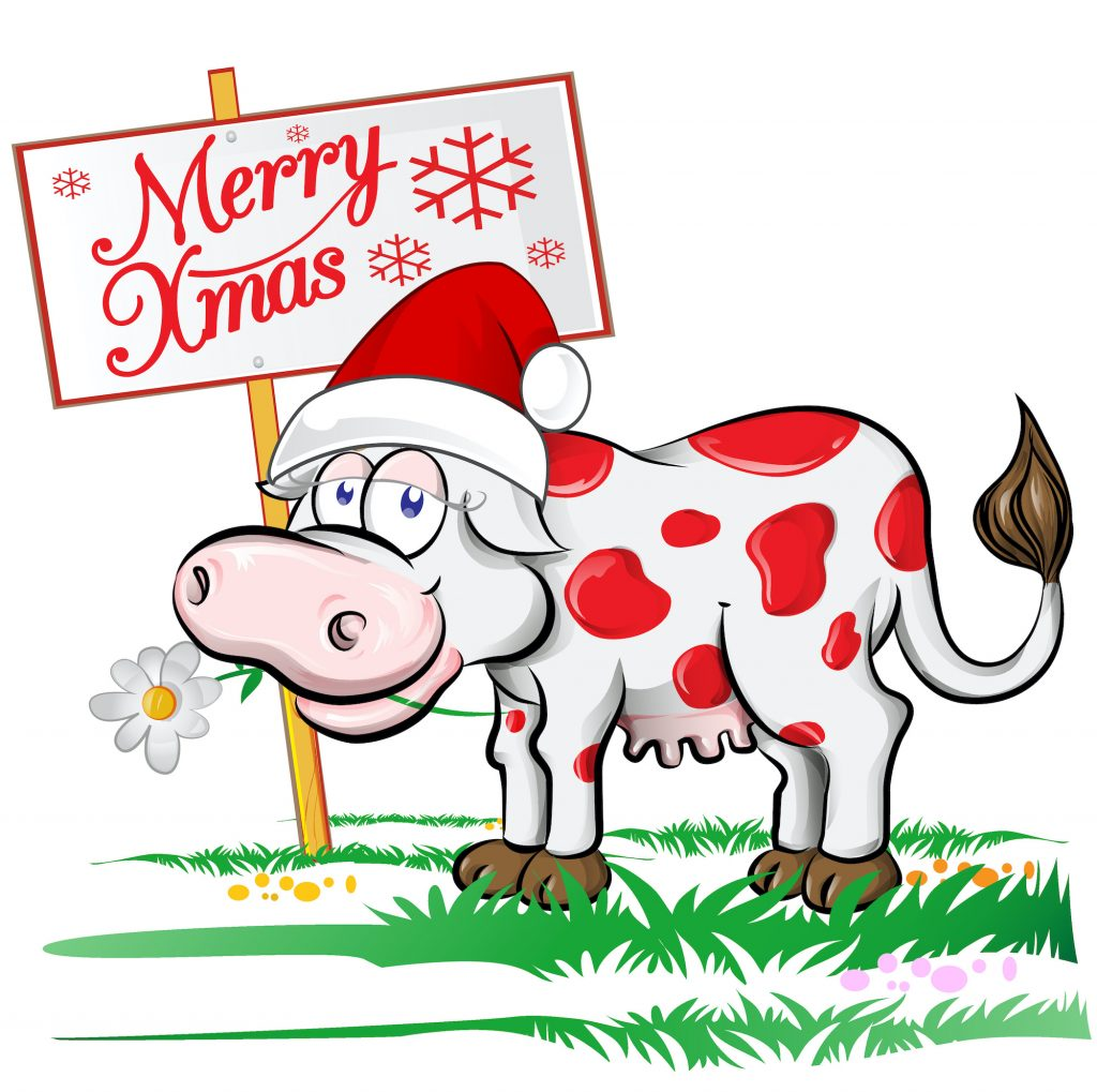 Illustration of a red and white Christmas cow with a Merry Xmas sign in the background.