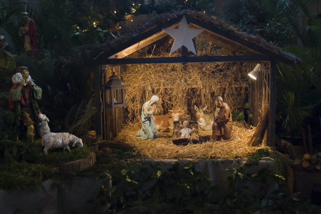 Christmas Pesebre with Joseph Mary and small Jesus