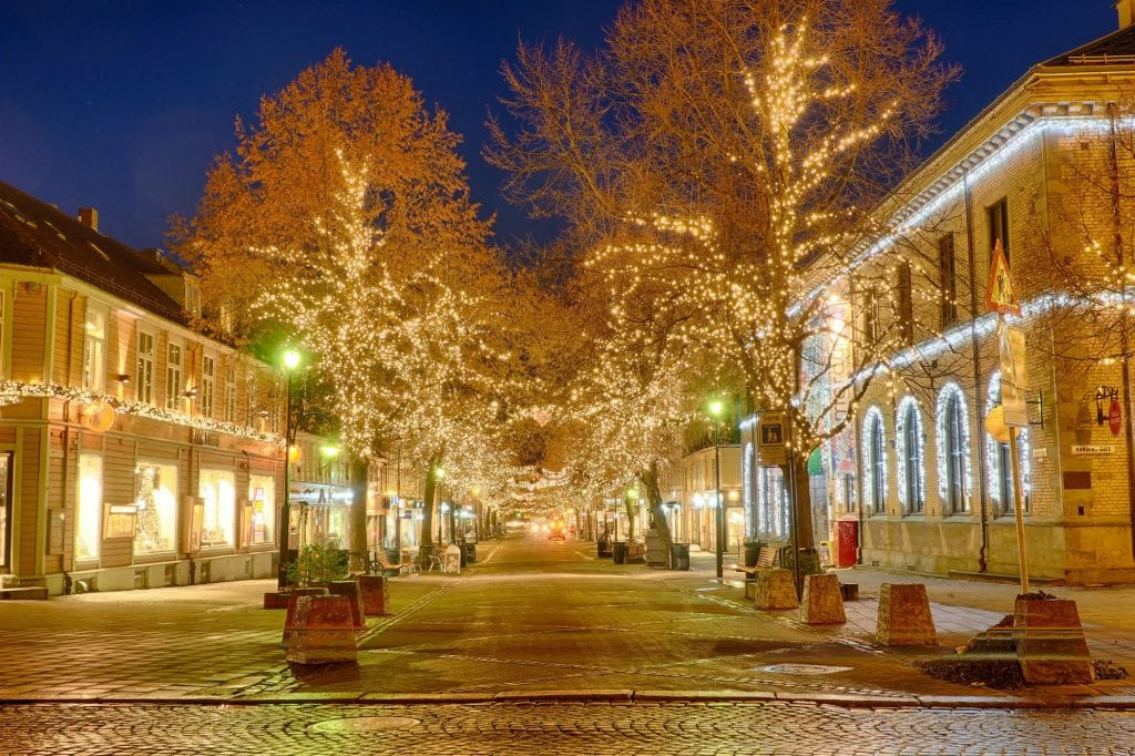 Christmas lights in the streets in Trondheim Norway.