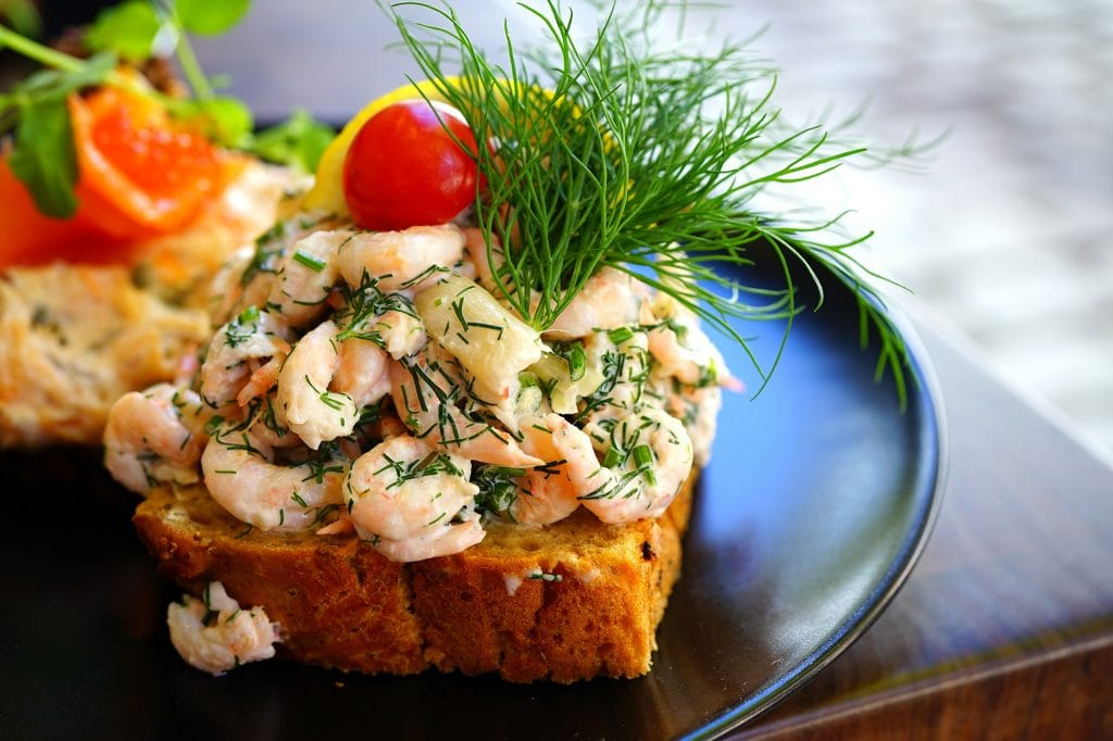 Danish Smorrebrod with cold shrimps