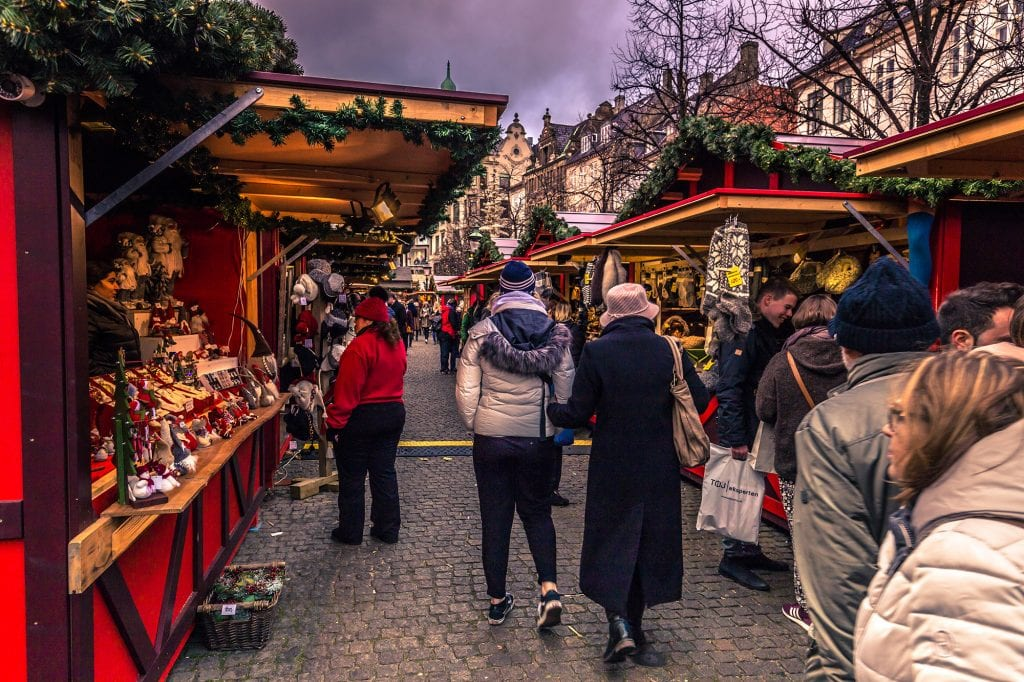 Christmas market in central Copenhagen, Denmark