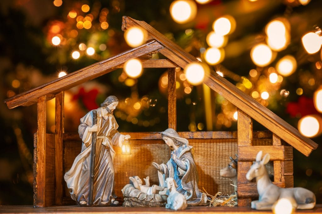 Christmas nativity scene with Jesus Christ, Mary and Joseph