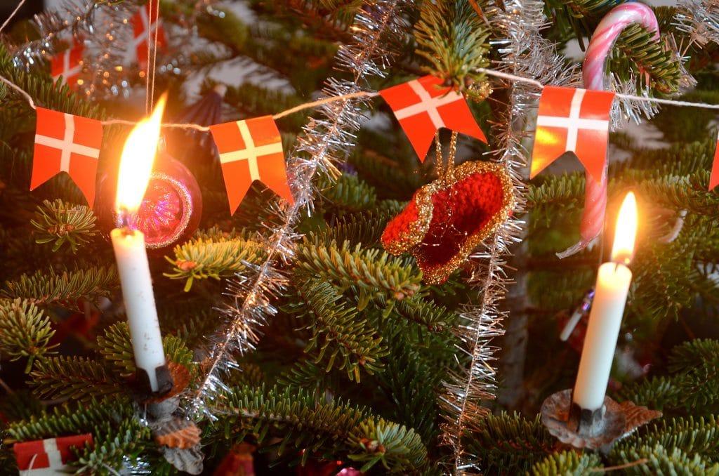 Christmas tree decorated in retro Danish style