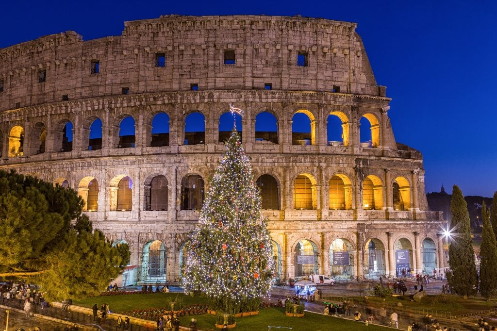 Colosseum in Rome Italy at Christmas during sunset