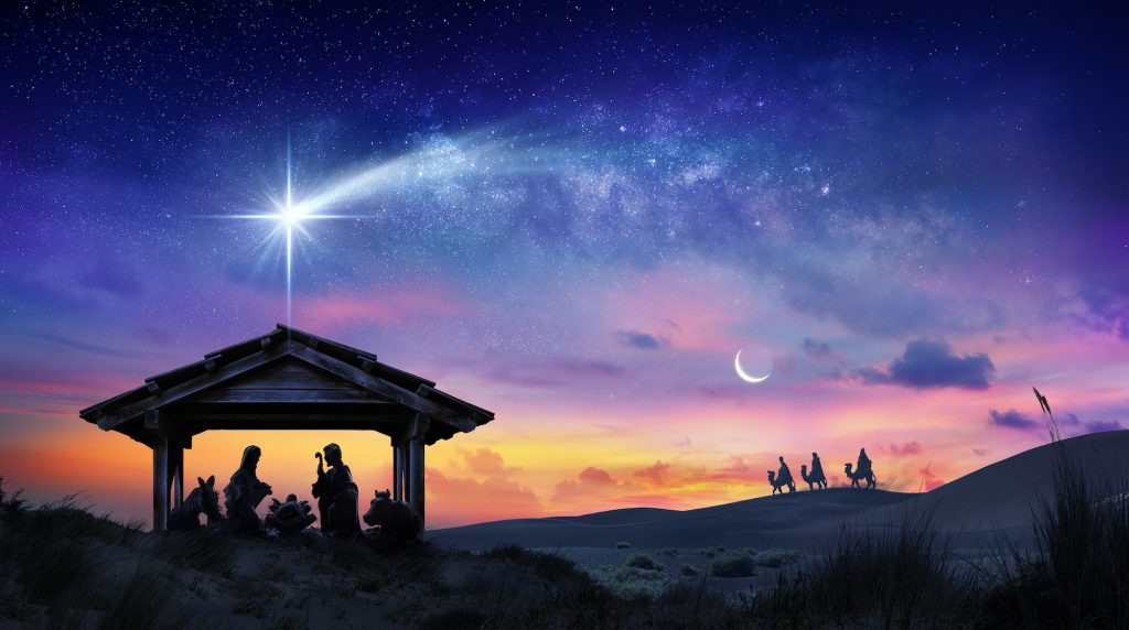 Illustrated picture of the stable with Baby Jesus, the Bethlehem star above it and the three kings riding on camels in the background