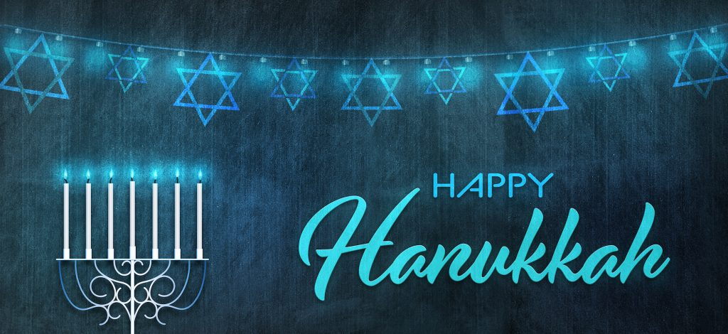 Illustration of the Jewish Holiday with the text happy Hanukkah. Menorah with bleu background above it Star of David in a row