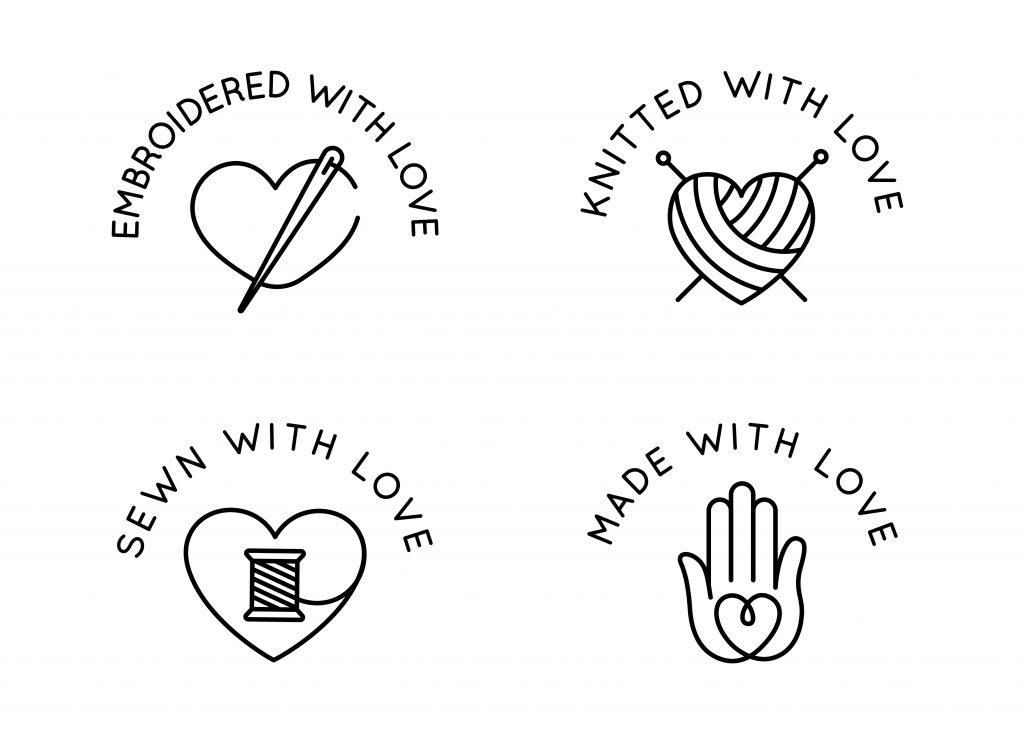 Illustration of different symbols for hand made gifts made with love