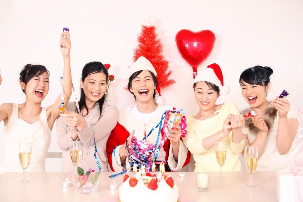 Japanese women celebrating Christmas