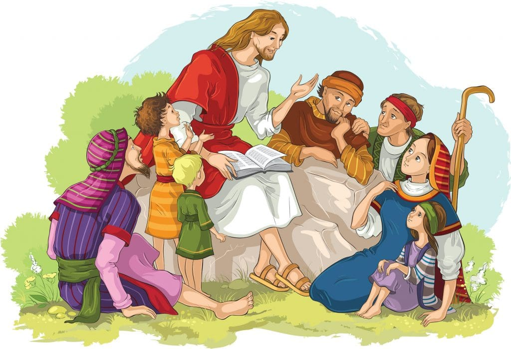 Illustration Jesus sitting on a rock reading to a woman, men and children.