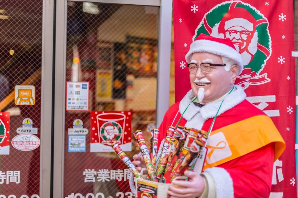 Kentucky Fried Chicken aka KFC in Japan with Santa Claus at Christmas