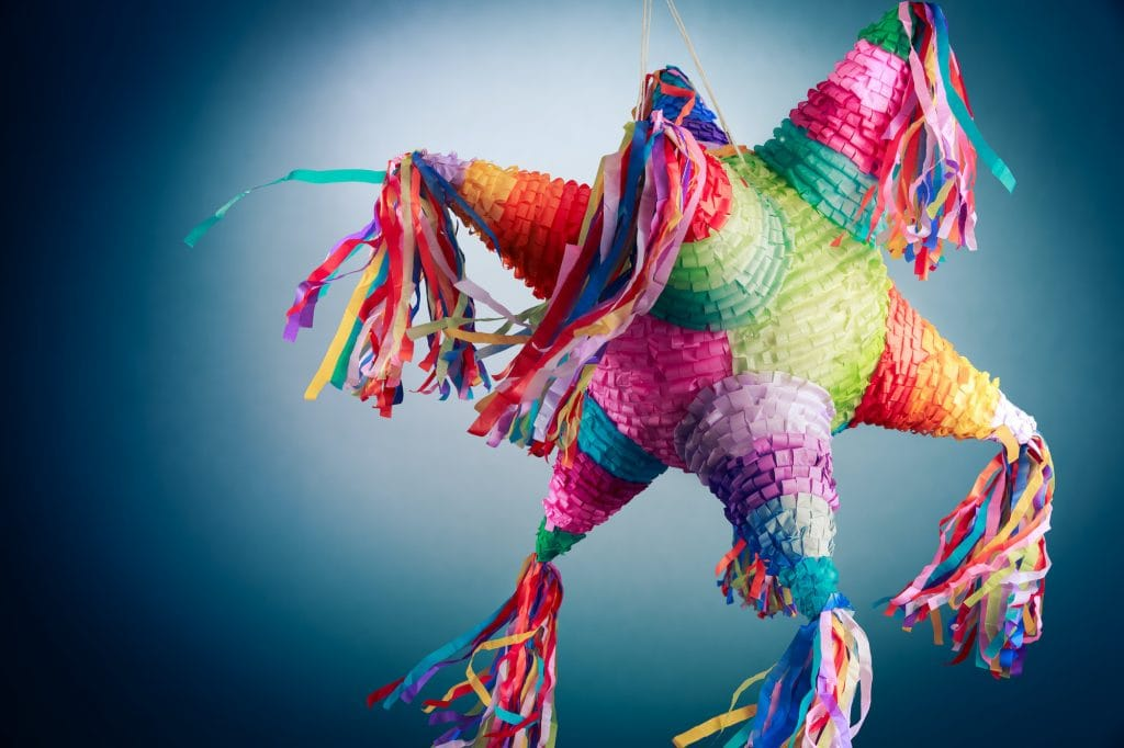 Colorful mexican pinata used in posadas.