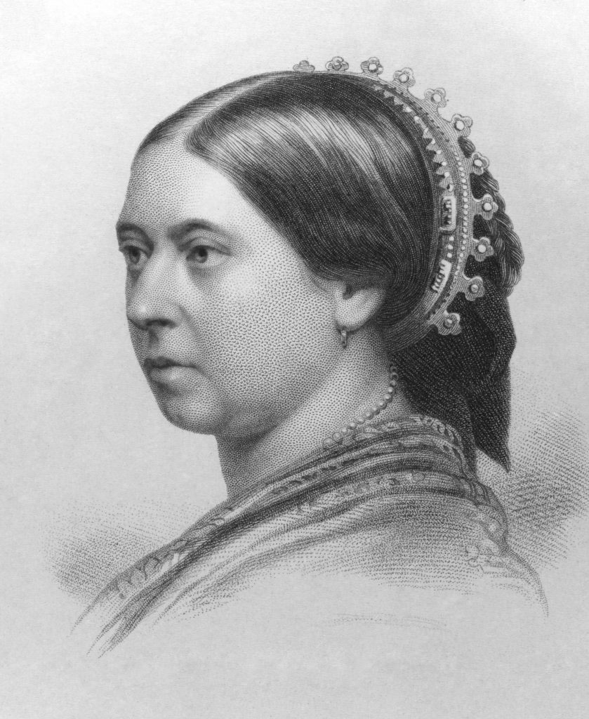 Queen Victoria ) on engraving from the 1800s.