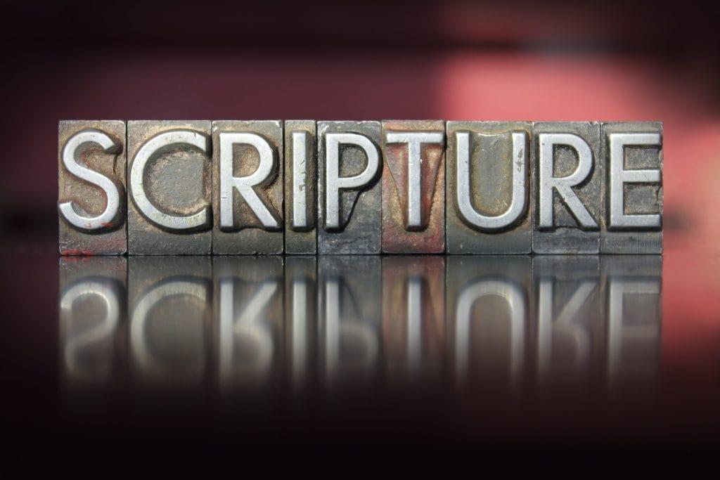 The word Scripture written in vintage letterpress type.
