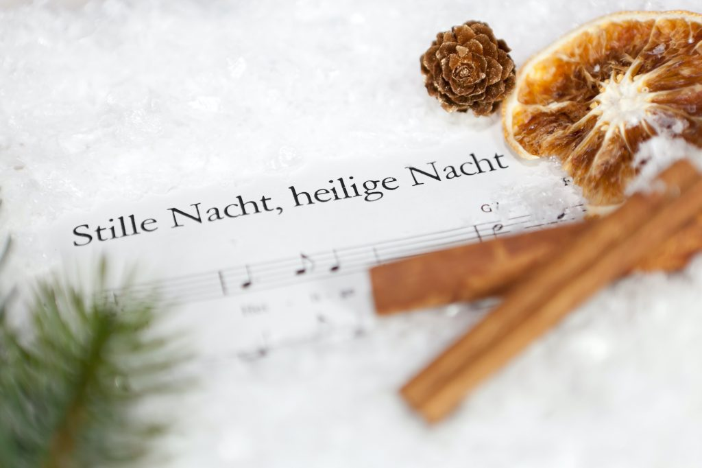 Sheet note with the German song Stille Nacht,heilige nacht