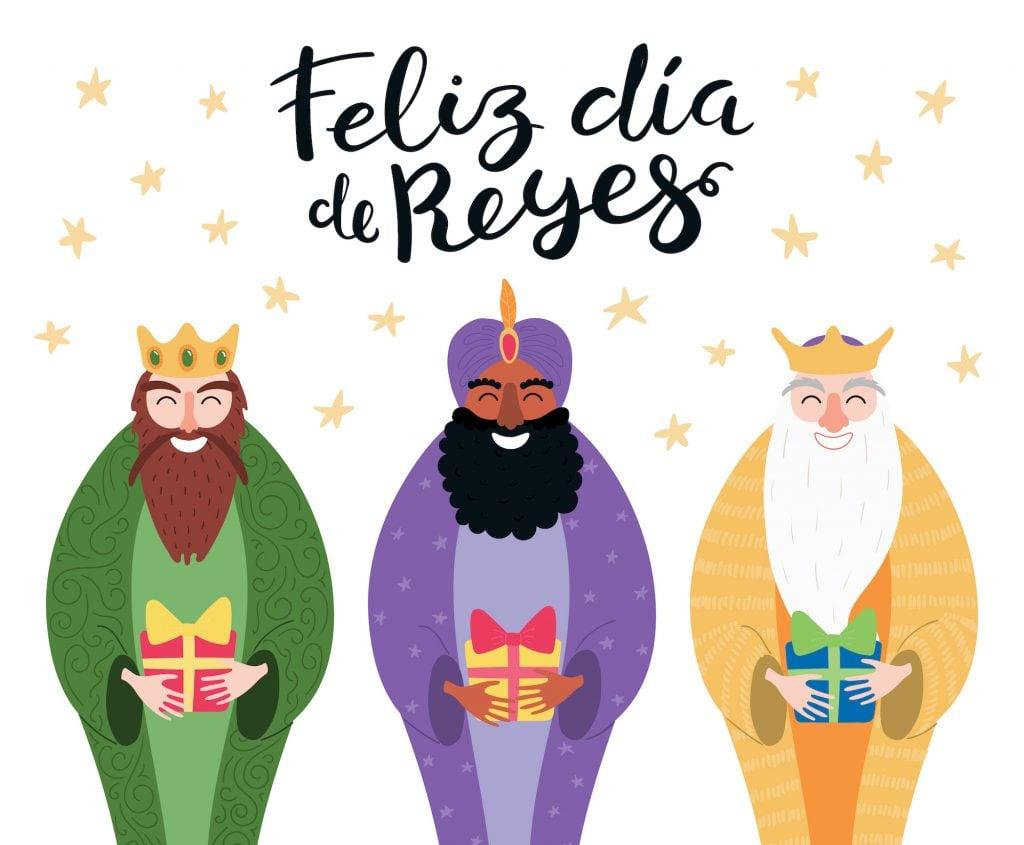 illustration of the 3 kings on dia de Reyes day.