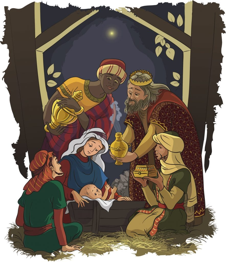 Illustration of the three wise men bringing gifts to Baby Jesus in the manger.