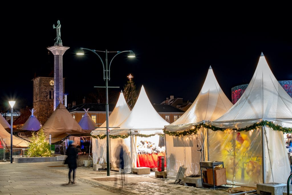 Christmas market on The square in Trondheim.
