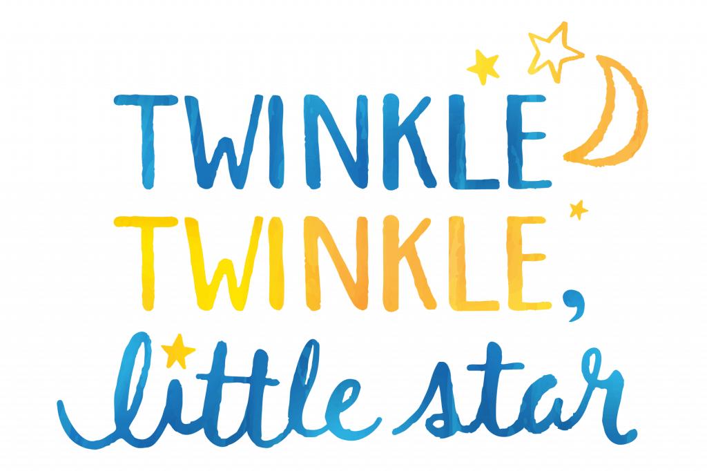 Twinkle twinkle little star written in watercolor