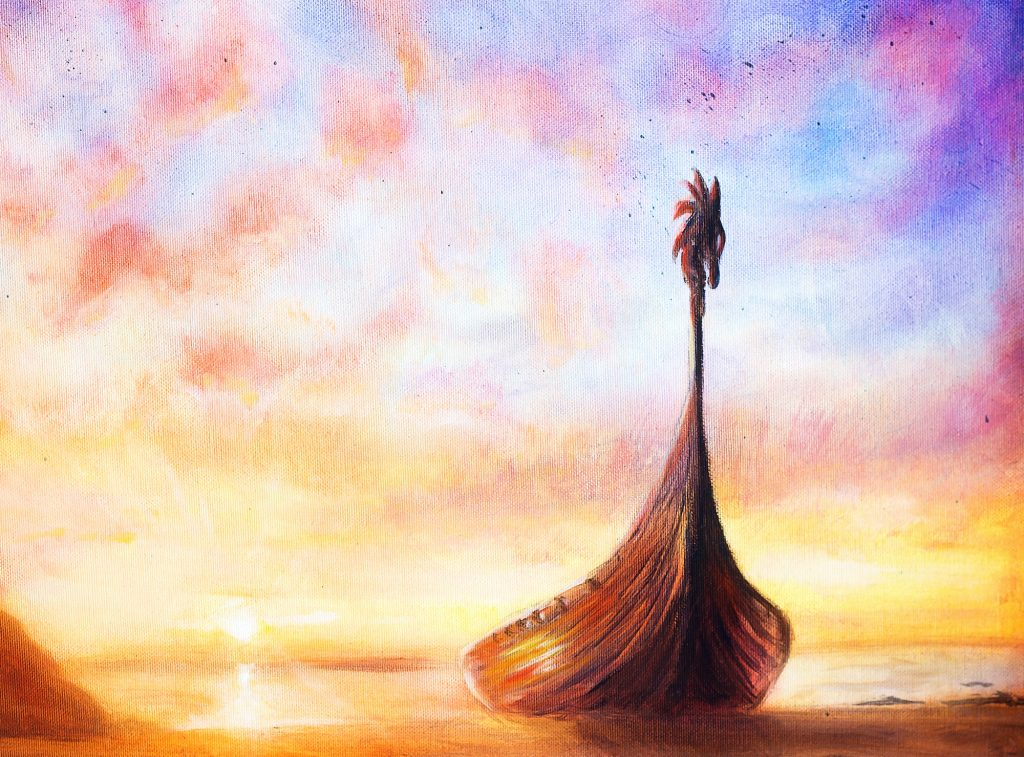 Painting of a viking boat on the beach with wood dragon head